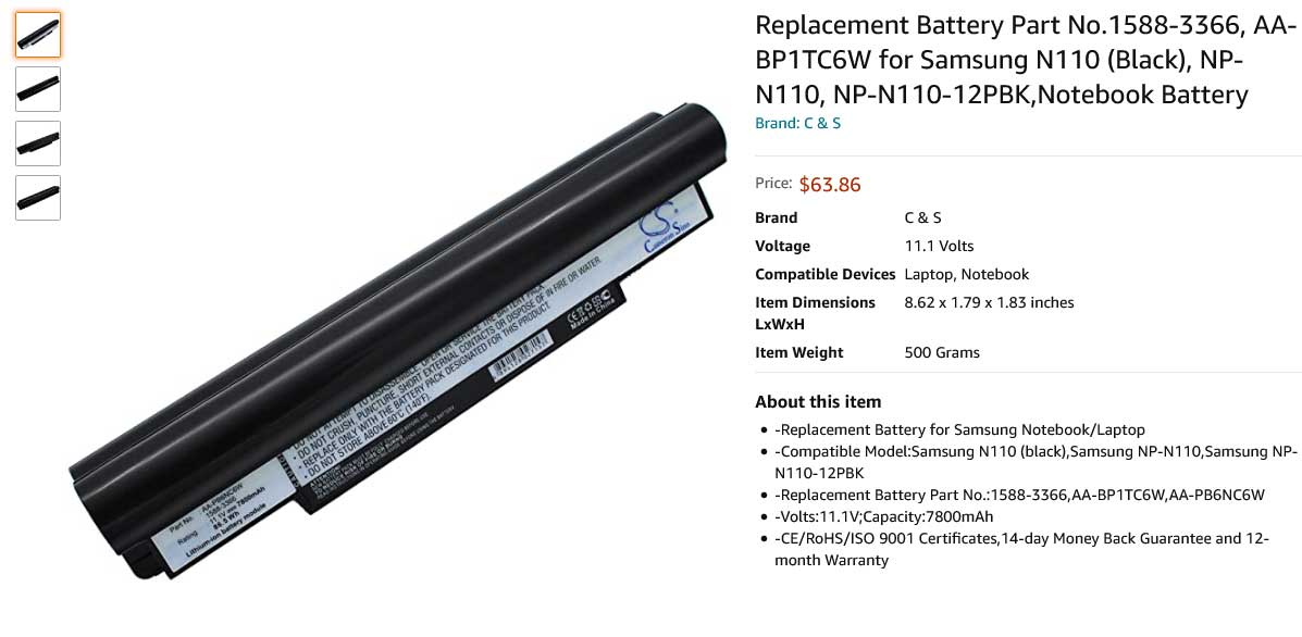 باتری لپ تاپ سامسونگ Battery Samsung N110 NC10