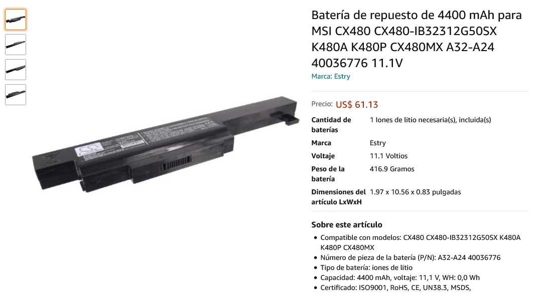 باتری لپتاپ ام اس آی Battery MSI CX480 A32-A24