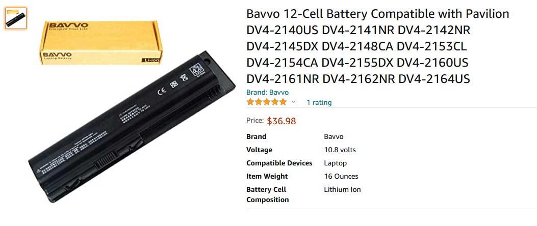 باتری لپ تاپ اچ پی Pavilion DV4 DV5 DV6 12cell