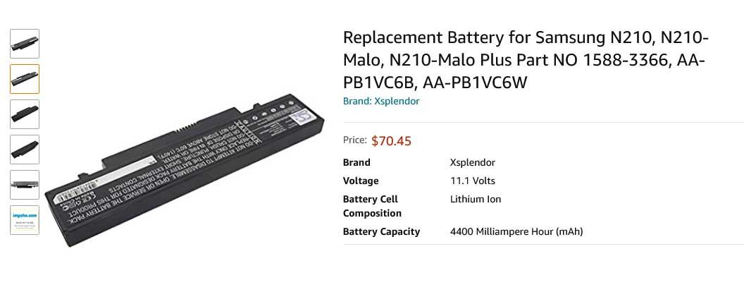 باتری لپ تاپ سامسونگ Samsung NP-N210 PB1VC6B