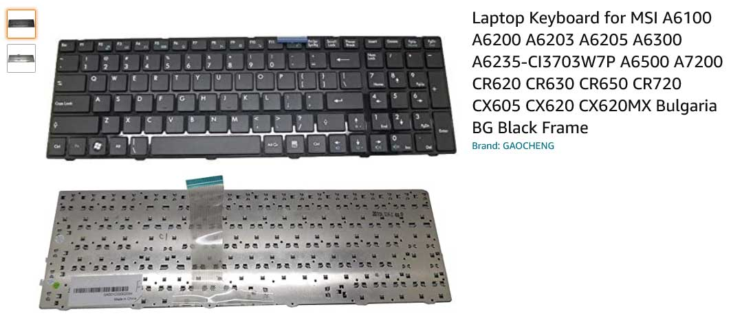 کیبورد لپ تاپ ام اس آی Keyboard Msi CX620 CX61