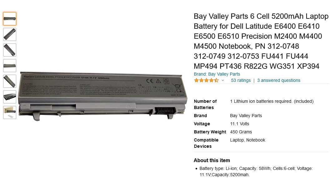 باتری لپ تاپ دل Battery Latitude E6400 E6500