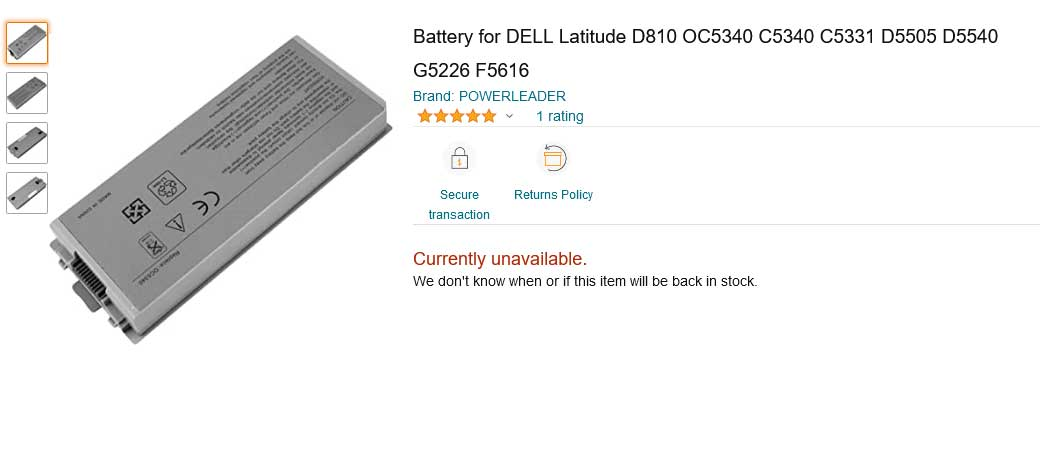باتری لپ تاپ دل Battery Dell Latitude D810