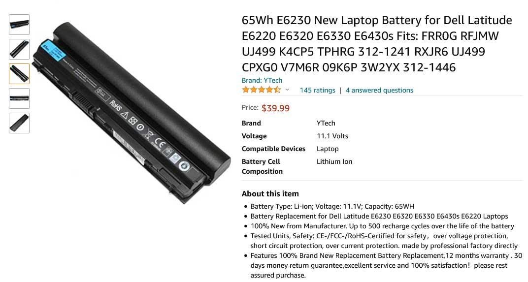 باتری لپ تاپ دل Battery Latitude E6230 E6320
