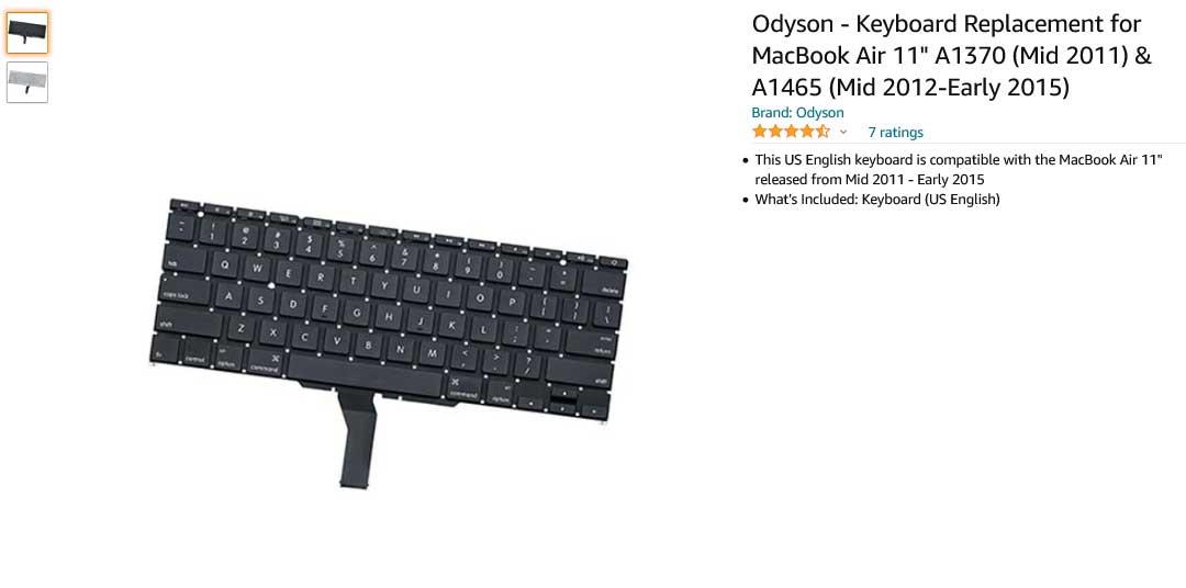 کیبورد لپ تاپ اپل Keyboard Apple A1370 A1465