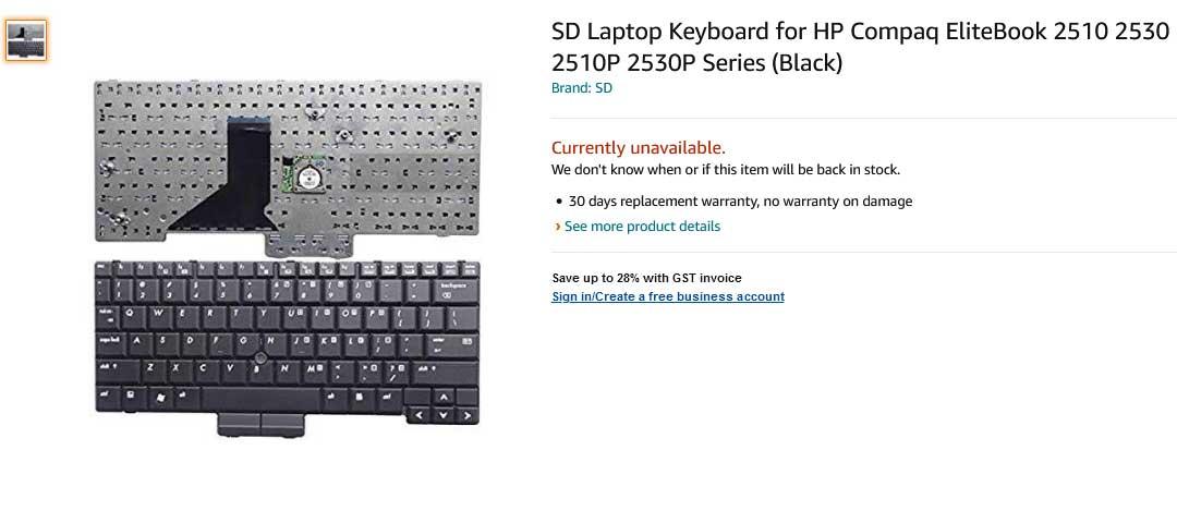 کیبورد لپ تاپ اچ پی HP COMPAQ 2510 2510P 2530P