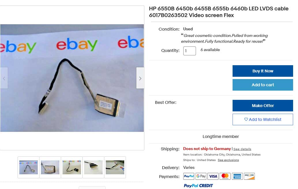 کابل فلت تصویر لپتاپ اچ پی ProBook 6440B 6445B 6450B 6455B