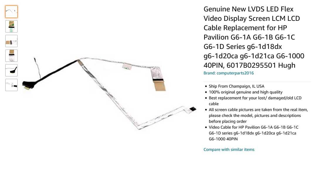 کابل فلت لپ تاپ اچ پی Pavilion G6-1000 DD0R15LC040 G6-1A