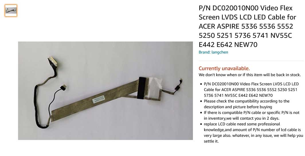 کابل فلت تصویر لپ تاپ ایسر Acer 5552 5741 5736z DC020010N00