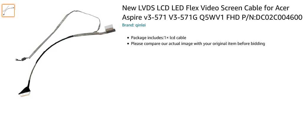 کابل فلت تصویر لپ تاپ ایسر V3-571 V3-571G Q5WV1 DC02C004600