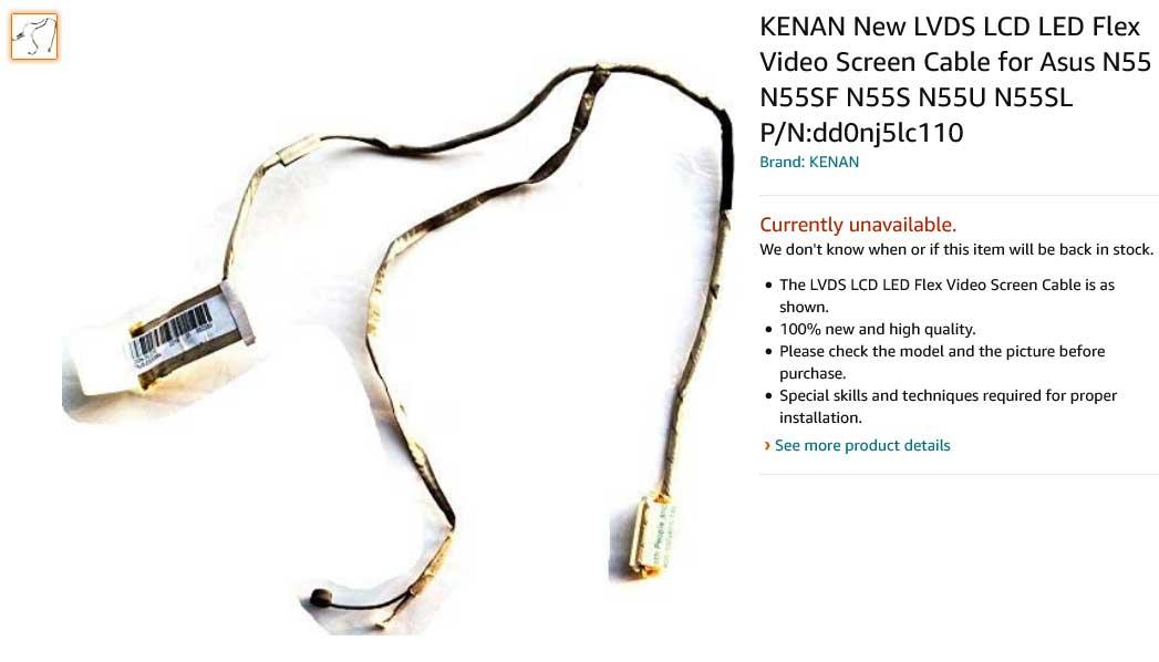 کابل فلت تصویر لپ تاپ ایسوس N55 N55SF N55S N55U N55SL
