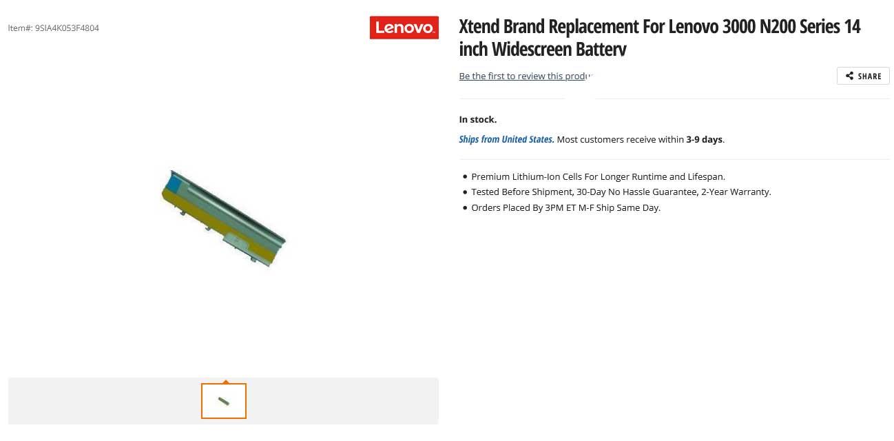باتری لپ تاپ لنوو ThinkPad 3000 N200 14-Inch WideScreen