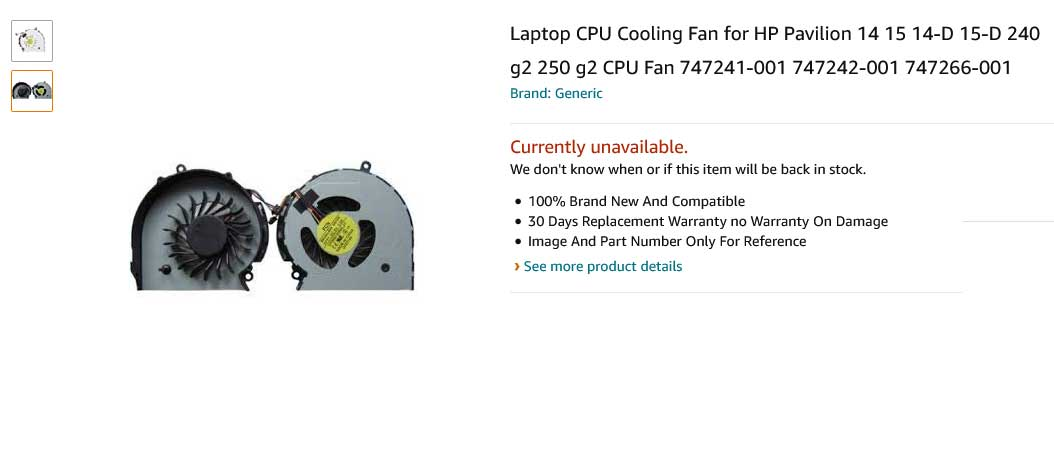 فن لپ تاپ اچ پی HP 14-D 15-D 240 G2 245 G2 250 G2 255 G2