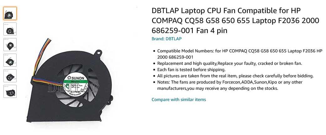 فن لپ تاپ اچ پی COMPAQ CQ58 G58 G650 G655 650 655