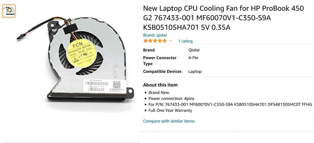 فن لپ تاپ اچ پی ProBook 440 G2 445 G2 450 G2 455 G2 470 G2