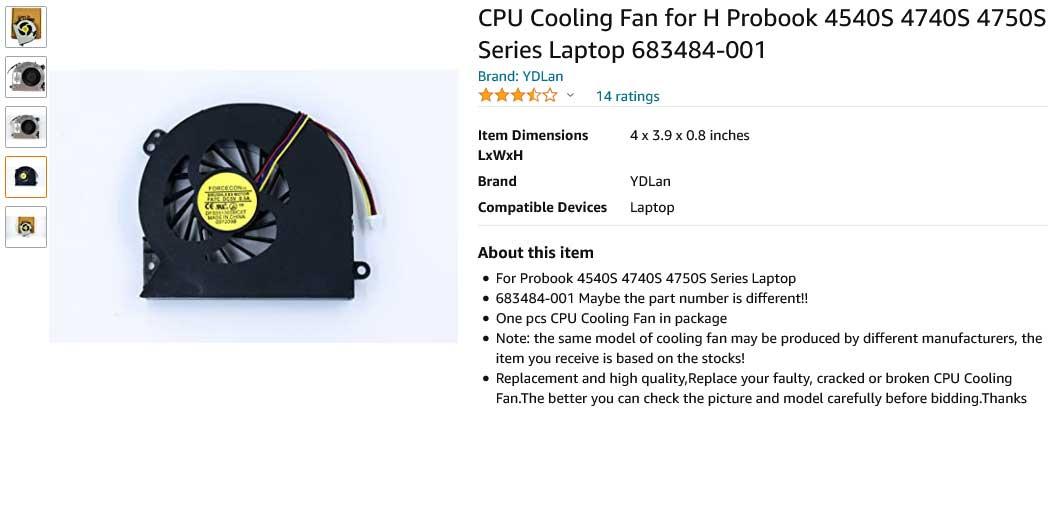 فن لپ تاپ اچ پی Fan 4540S 4545S 4740S 4745S