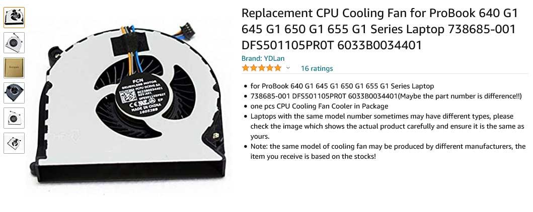 فن لپ تاپ اچ پی Probook 650 G1 655 G1 640 G1 645 G1 4-Wire
