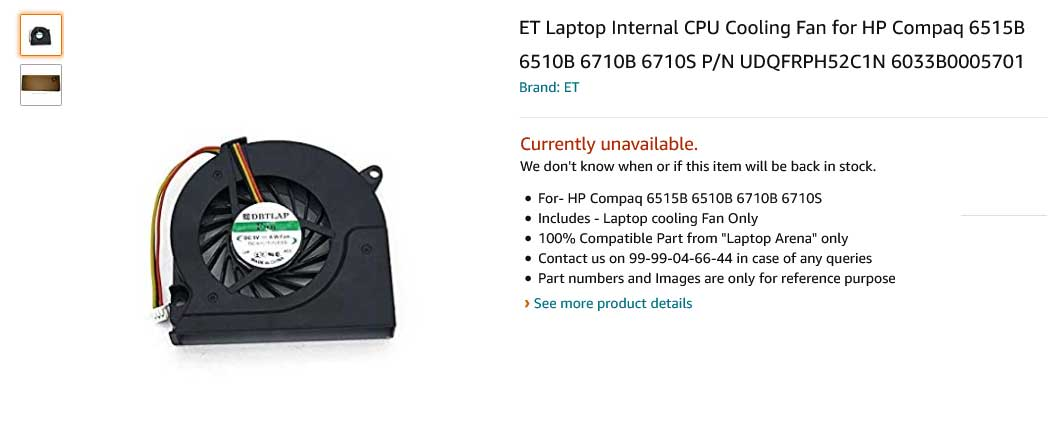 فن لپ تاپ اچ پی Compaq 6510B 6515B 6520S 6530S 6710B 6710S