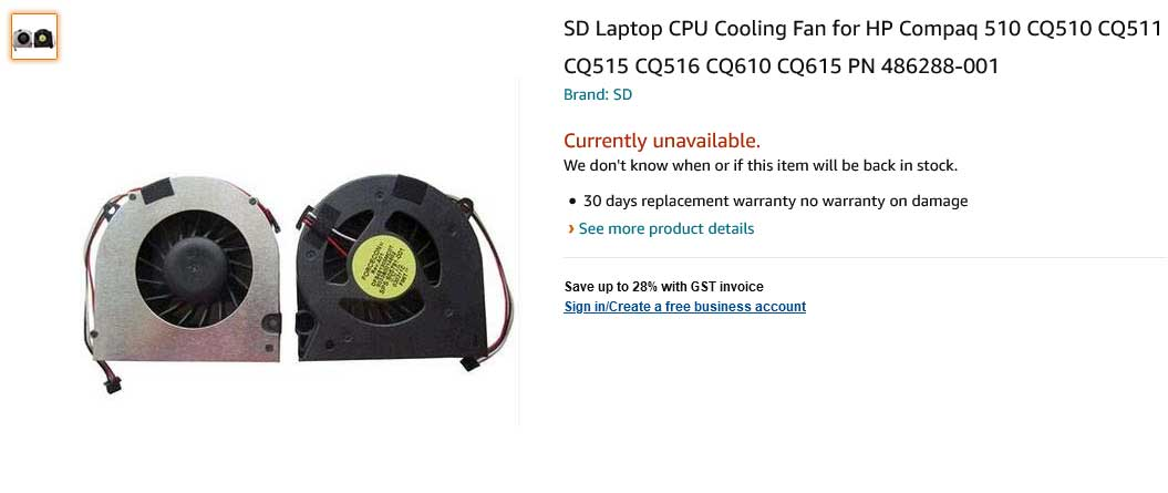 فن لپ تاپ اچ پی CQ510 CQ511 CQ515 CQ516 CQ610 CQ615