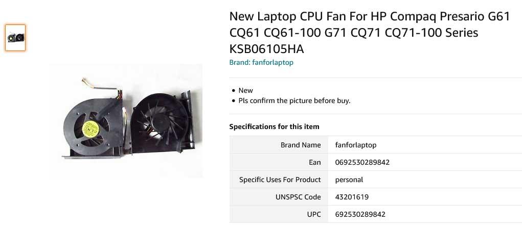 فن لپ تاپ اچ پی Fan G61 CQ61 CQ61-100 G71 CQ71