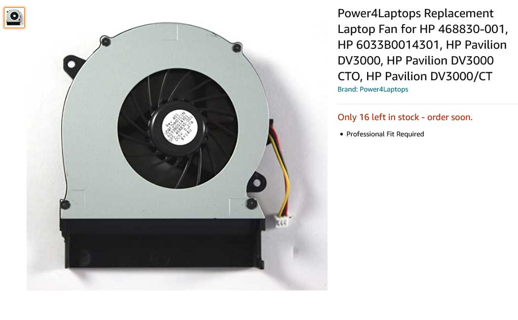 فن لپ تاپ اچ پی DV3000 DV3100 DV3500 DV3600