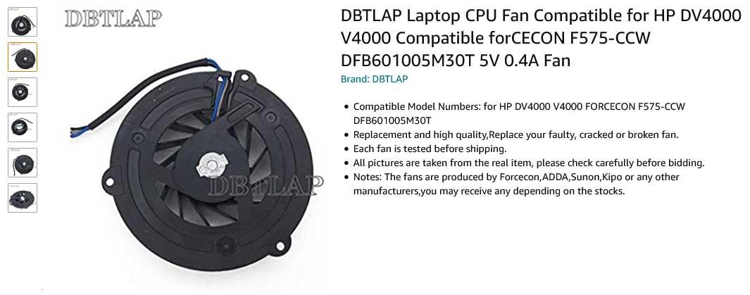 فن لپ تاپ اچ پی DV4000 DV4100 DV4200 DV4400 V4000 V4200