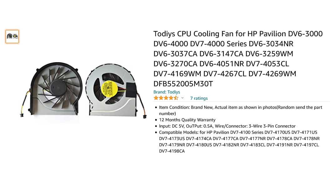 فن لپ تاپ اچ پی Pavilion DV6-3000 DV6T-3000 DV7-4000