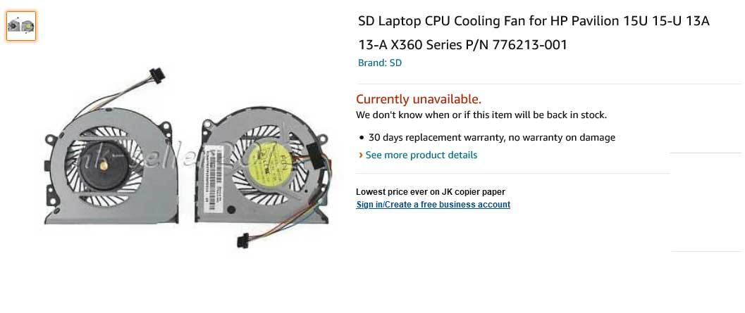 فن لپ تاپ اچ پی Fan HP ENVY 15-U 15U 15-U011DX