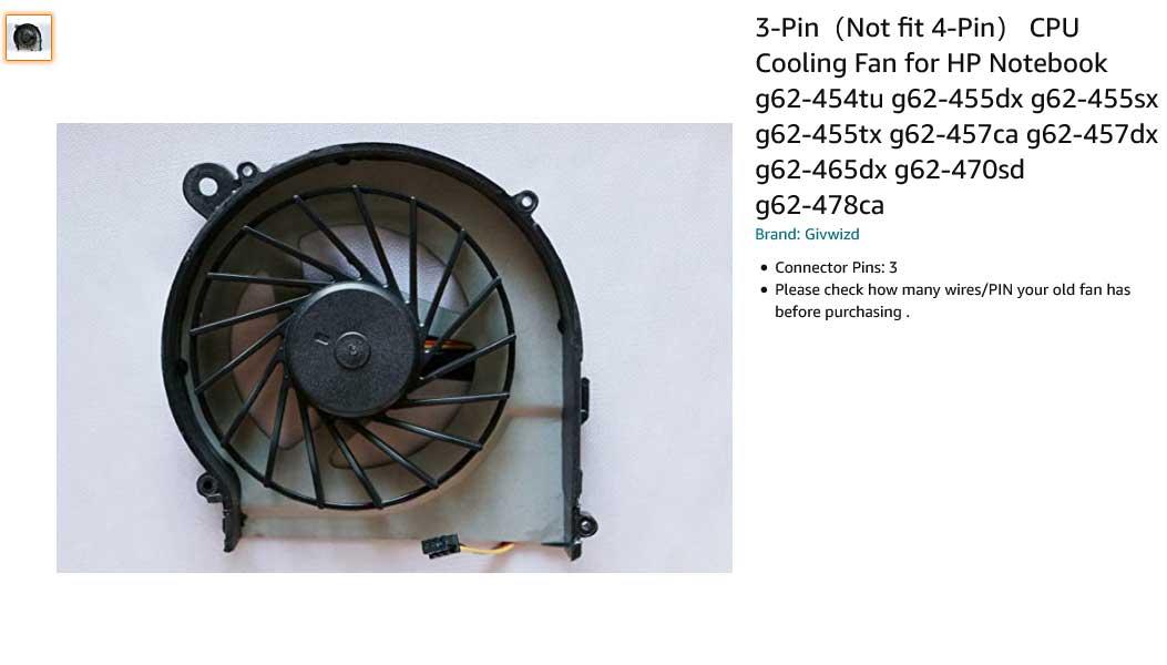 فن لپ تاپ اچ پی HP Compaq G62 G42 G56 CQ42 Pavilion G7 G6 G4 G4T G6T G7T