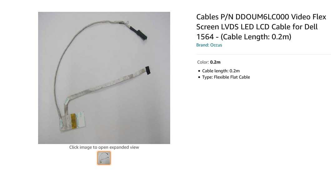 کابل فلت تصویر لپ تاپ دل Dell 1564 UM6 061TN9 DD0UM6LC001