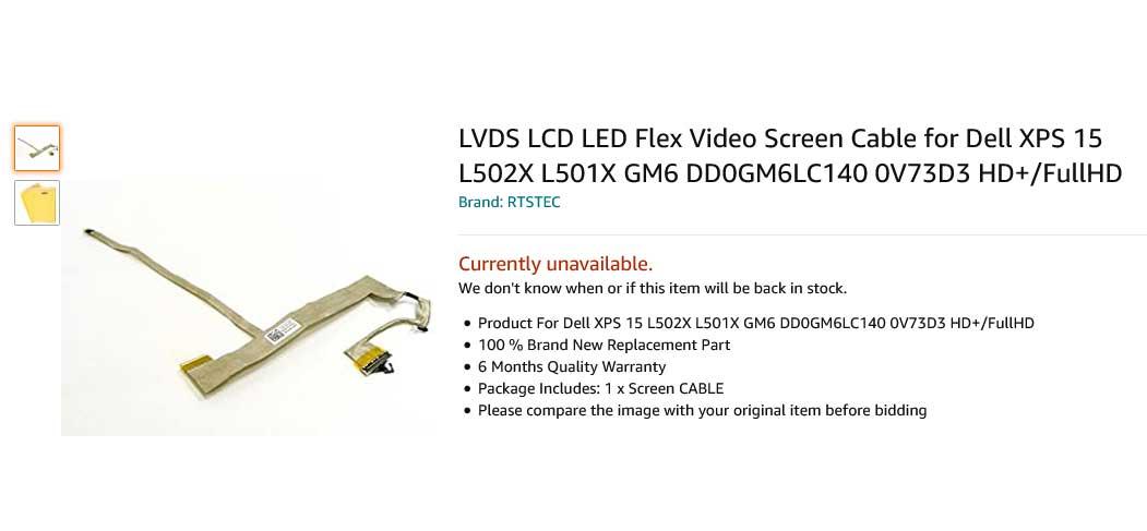 کابل فلت تصویر لپ تاپ دل XPS 15 L501X L502X L501 L502 GM6