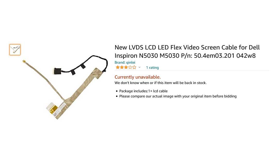کابل فلت تصویر لپ تاپ دل Inspiron N5030 M5030 N5020 50.4EM03.201