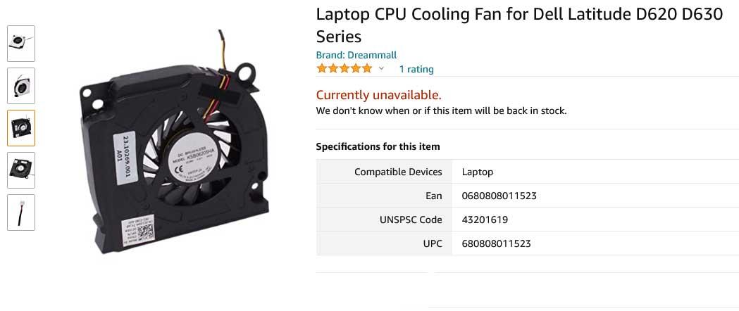 فن لپ تاپ دل Latitude D620 D630 D631 PP29L PP18L Fan Dell