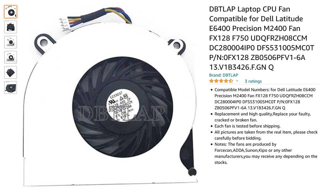 فن لپ تاپ دل Latitude E6400 Precision M2400 FX128 F750