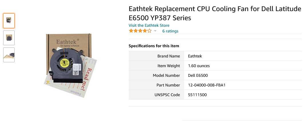 فن لپ تاپ دل Latitude E6500 Precision M4400 YP387