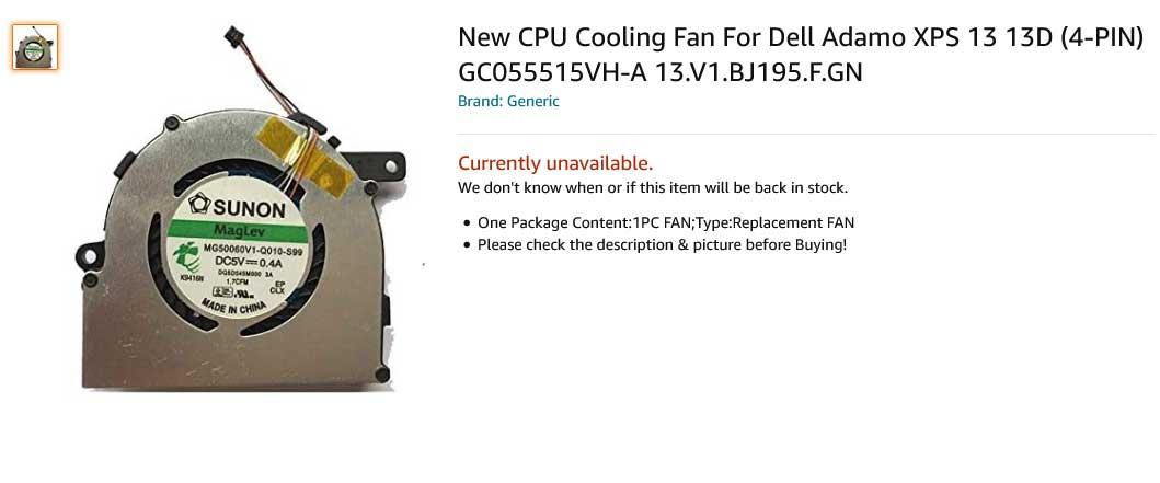 فن لپ تاپ دل Fan Dell Adamo XPS 13 13D