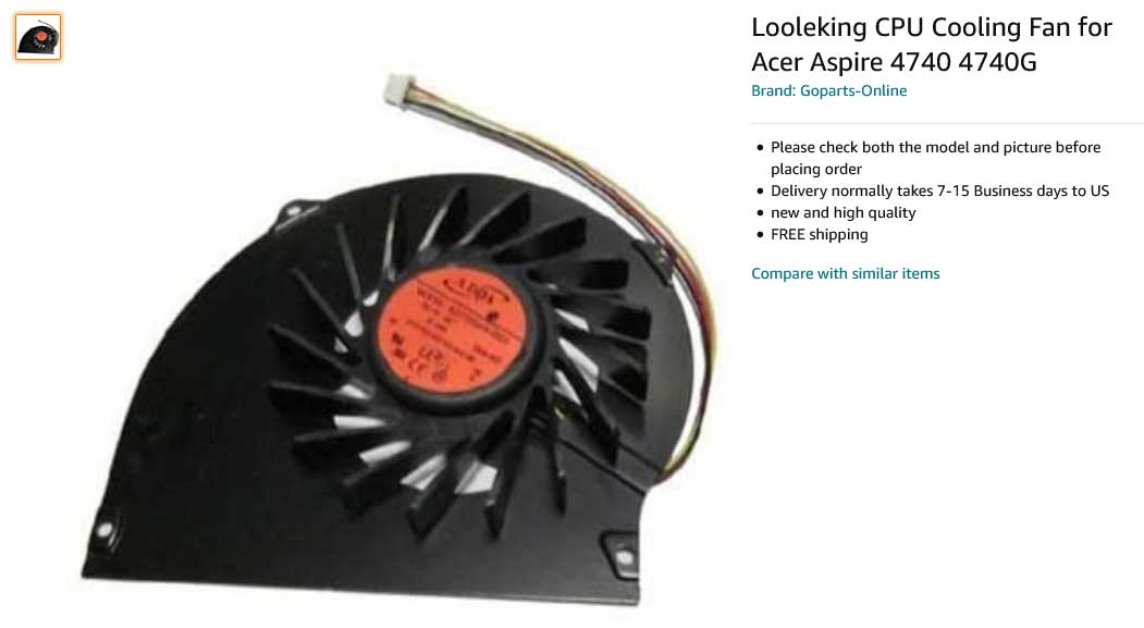 فن لپ تاپ ایسر Fan Acer Aspire 4740 4740G