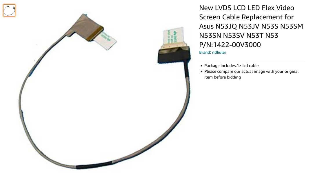 کابل فلت تصویر لپ تاپ ایسوس N53 N53D N53J N53S N53T N53SV
