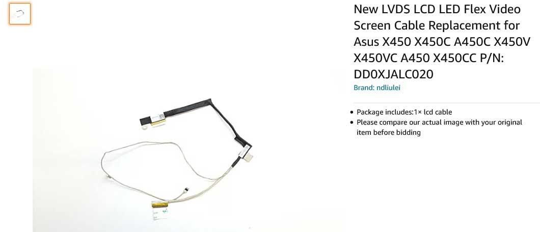 کابل فلت تصویر لپ تاپ ایسوس X450 X450C A450C X450V X450VC