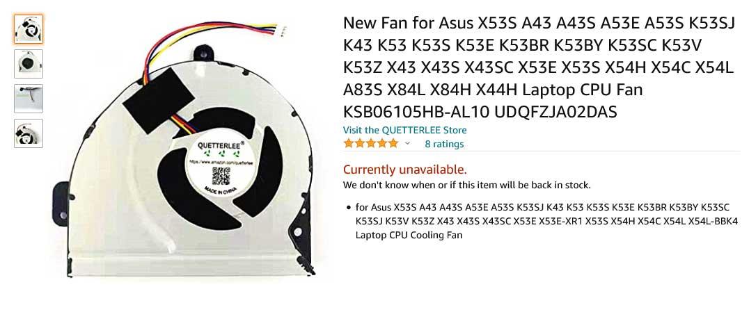 فن لپ تاپ ایسوس K53S K43S A43 A43S X53S A43S A53E A53S