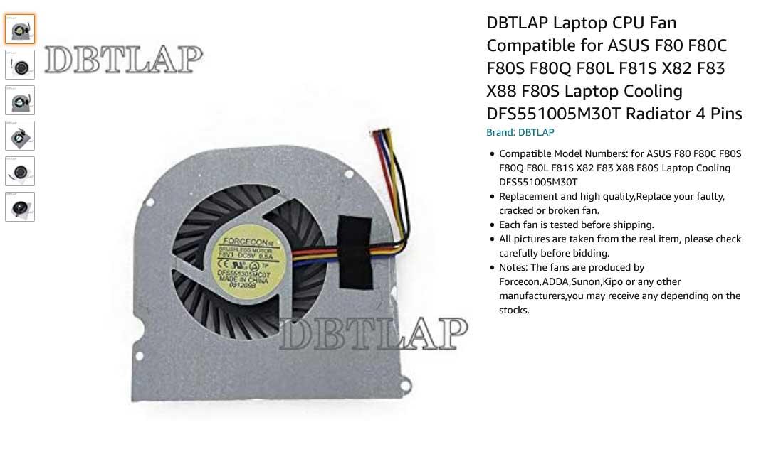 فن لپ تاپ ایسوس F80 X82 F81 F83 X88 F80C F80S