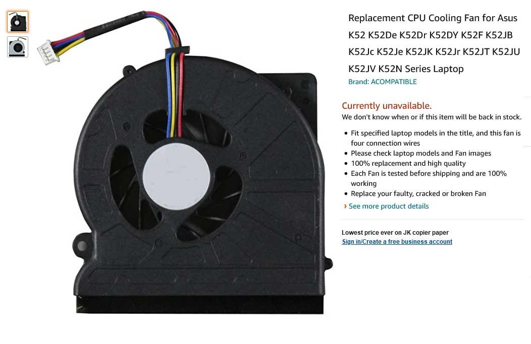 فن لپ تاپ ایسوس K52 K52N K52F X52F P52F K52J N61