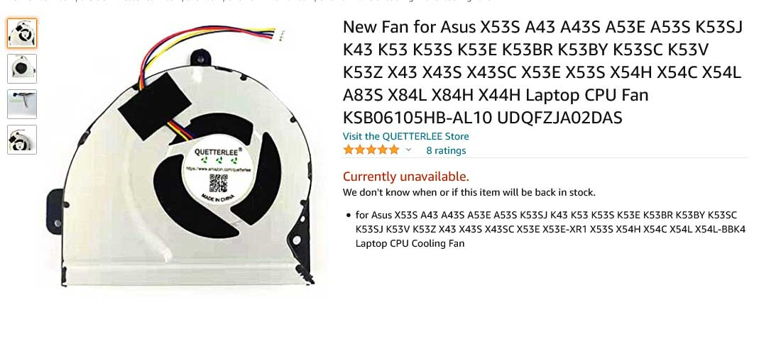 فن لپ تاپ ایسوس K53 K53S K53L K53E X53S A43S