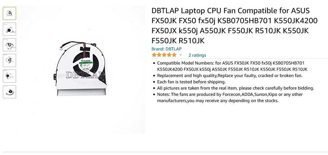 فن لپ تاپ ایسوس K550JK k550j A550JK R510JK