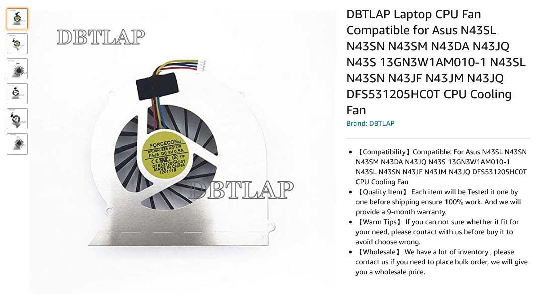 فن لپ تاپ ایسوس N43 N43S N43SL N43SM N43SN