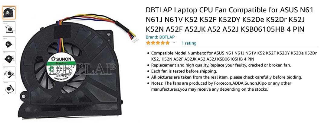 فن لپ تاپ ایسوس FAN N61 N61J N61JQ K52 K72