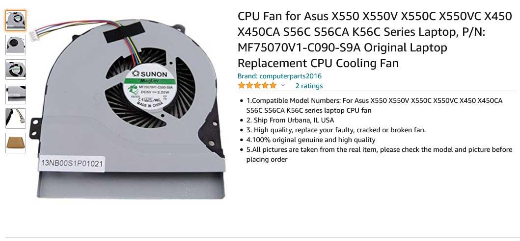 فن لپ تاپ ایسوس X450 X450C X450CA X550C X550V