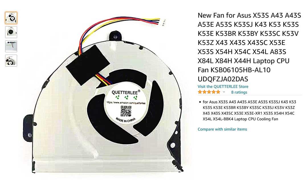 فن لپ تاپ ایسوس X53 K43 K53 A43 X44H X54H K53S