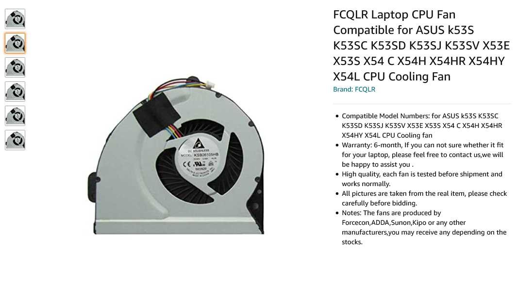 فن لپ تاپ ایسوس X54 X54C A43 K53S A53S K43 X43