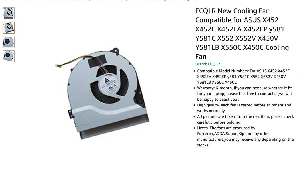 فن لپ تاپ ایسوس X552 X452 X452E X452EA Y581C